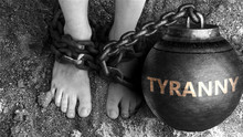 Tyranny As A Negative Aspect Of Life - Symbolized By Word Tyranny And And Chains To Show Burden And Bad Influence Of Tyranny, 3d Illustration