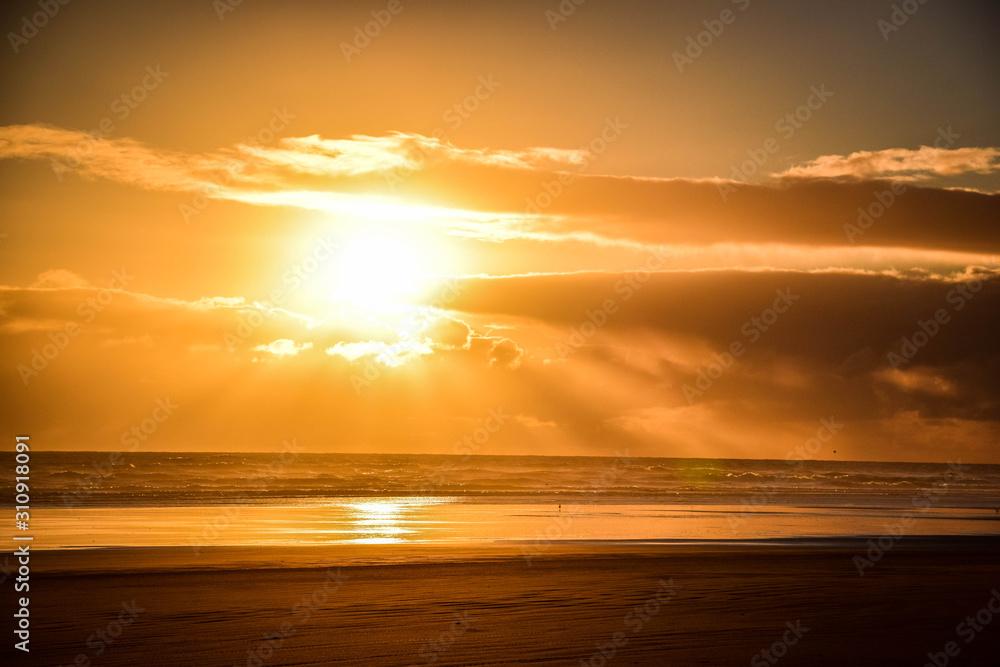 Sunset on Ninety Miles Beach, New Zealand