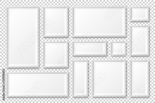 Fototapeta Realistic blank white picture frame with shadow collection isolated on transparent background. Modern poster mockup. Empty photo frame for art gallery or interior. Vector illustration. obraz na płótnie