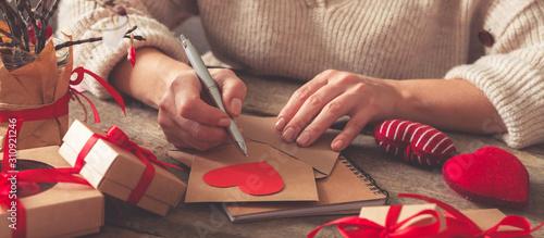 Fototapeta  Valentine's day, wedding zero waste, eco-friendly gift wrapping kraft paper and
