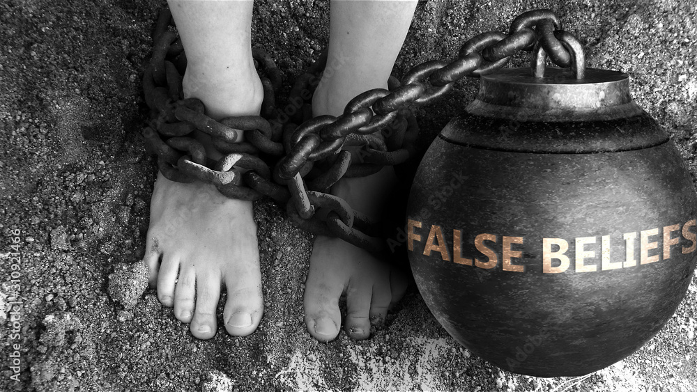 Fototapeta False beliefs as a negative aspect of life - symbolized by word False beliefs and and chains to show burden and bad influence of False beliefs, 3d illustration