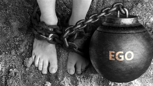 Ego as a negative aspect of life - symbolized by word Ego and and chains to show Tapéta, Fotótapéta