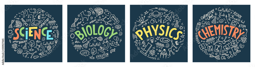 Fototapeta Science. Biology. Physics. Chemistry. Set from hand drawn doodles with lettering. School subjects vector illustrations on dark blue background.