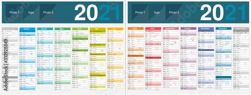 Canvastavla Calendrier 2021 14 mois avec vacances scolaires officielles au format 320 x 420
