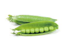 Pea Pods Isolated On A White Background, Opened Pea Pod