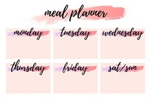 Weekly Meal Planner Horizontal Blank Form Meal Planning For A Week, Note Page. Illustration Printable Boxes, In Flat Colors For Planners, Printable To Do Pages For Life Planner. Diet Plan Page
