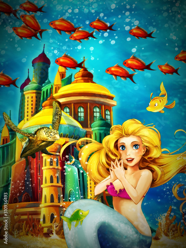 Fototapety, obrazy: Cartoon ocean and the mermaid in underwater kingdom swimming with fishes - illustration for children