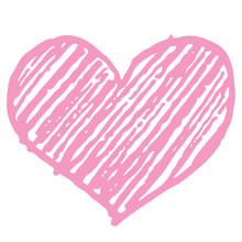 Vector Illustration Of Sketched Pink Heart