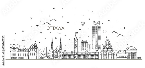 Vászonkép illustration of Ottawa city skyline. Cityscape