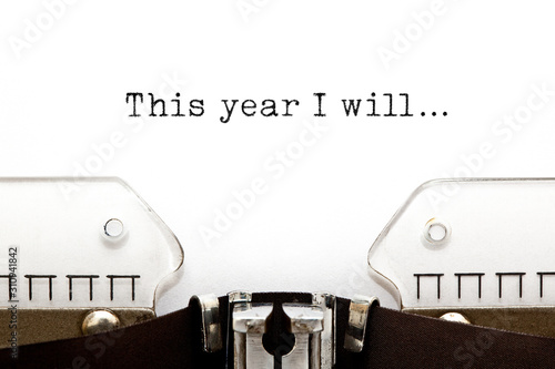 This Year I Will Typewriter Concept Wallpaper Mural