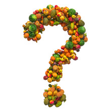 Question Mark From Fruits, 3D ...
