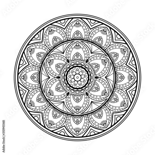 Photographie Vector illustration of a black and white mandala for adult coloring book