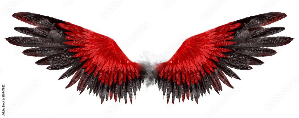 Piękne magiczne czerwone czarne skrzydła narysowane z efektem akwareli <span>plik: #310947842   autor: Евгения Савченко</span>
