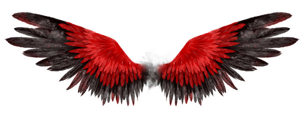 Beautiful magic red black wings drawn with watercolor effect