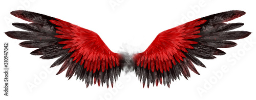Beautiful magic red black wings drawn with watercolor effect Fototapet