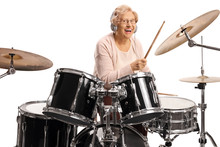 Happy Elderly Woman With Headp...