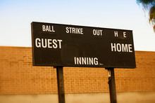 An Old Fashioned Baseball Or Softball Scoreboard Without Any Scores To Display.