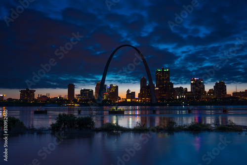MAY 2019, ST LOUIS, MO., USA - St. Louis, Missouri skyline on Mississippi River - shot from East St. Louis, Illinois - 310952460