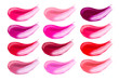 canvas print picture - Lip gloss face make-up samples palette. Set of colorful cosmetic liquid lipgloss in different colour smudge smear strokes. Make up smears isolated on a white background. Lipstick colors