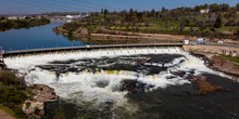 MAY 23, 2019, GREAT FALLS, MT., USA - Black Eagle Dam Of The Great Falls Of The Missouri River, Great Falls, Montana