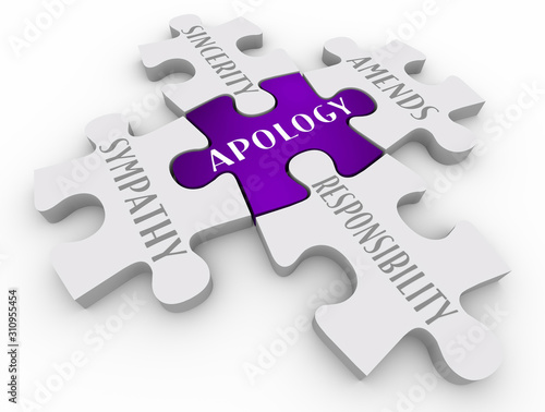 Apology Sorry Sympathy Amends Responsibility Puzzle Pieces 3d Illustration Canvas Print