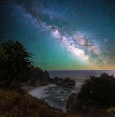 Milky way over the McWay falls, California