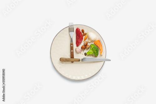 Fototapeta 20:4 intermittent fasting diet concept. obraz