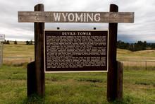 Road Sign Describing Devils Tower Wyoming