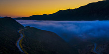 JUNE 26, 2019, OJAI, CA, USA - Fog Over Ojai California, Los Padres National Forest Off Highway 33 At Sunset