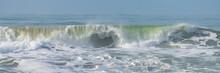 Wave Crashing On The Shore At Half Moon Bay, California, Beautiful Beach