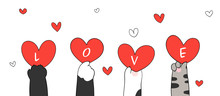 Draw Cat Paws Holding Red Heart And Word Love For Valentine.