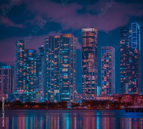 downtown miami city florida night building cityscape skyscraper lights lighting Wallpaper Mural