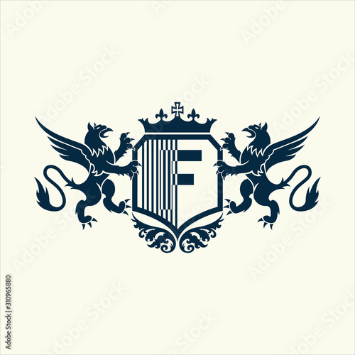 Fototapety, obrazy: University and college school crests and logo emblems with alphabet