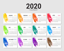 Calendar For 2020 Year With Watercolors Splash Design.vector Template.
