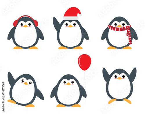 Valokuva Cute penguin cartoon characters set in different poses on white background