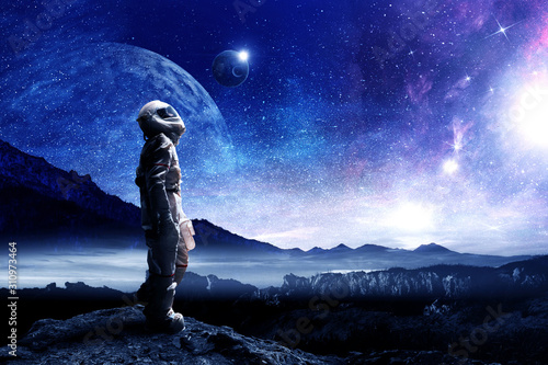 Spaceman and his mission. Mixed media Canvas Print