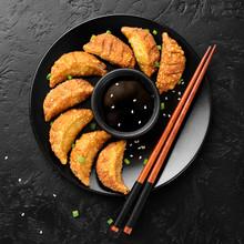 Asian Dumplings Fried Gyoza Po...