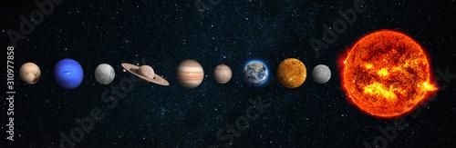 Photo The solar system consists of the Sun, Mercury, Venus, Earth, Mars, Jupiter, Saturn, Uranut, Neptune, Pluto