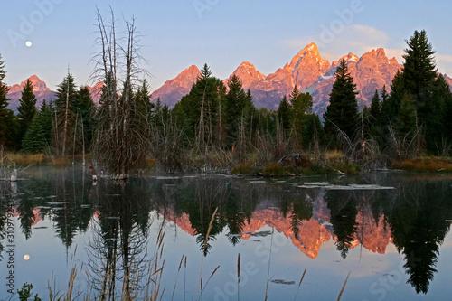alpenglow on the Teton mountains фототапет