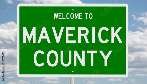 Photo  Rendering of a green 3d highway sign for Maverick County