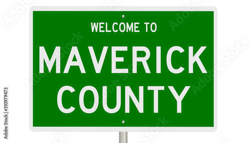 Rendering of a green 3d highway sign for Maverick County Wallpaper Mural