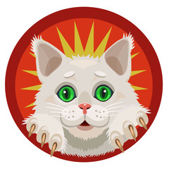White fluffy kitten green eyes, cheerful and curious looking from the red circle, yellow star as a crown, it shows paws and claws