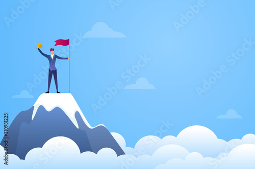 Successful businessman holding a flag and trophy on top of mountain vector Wallpaper Mural