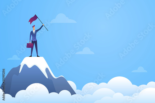 Fotografering Successful businessman holding a flag on top mountain vector