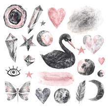 Watercolor Hand Painted Magical Black Swan