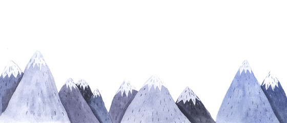 Watercolor hand painted montain