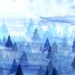 canvas print picture - Watercolor decorative textured blue fog forest