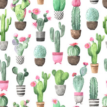 Seamless Pattern With Watercolor Flowering Cactus