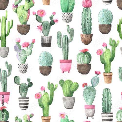 Carta da parati Seamless pattern with watercolor flowering cactus
