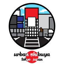 Circle Icon Urban Shibuya. Vector Illustration